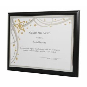 "10.5""x13"" Matte Black Plaque w/Gold or Silver Channel Frame"
