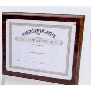"10.5""x13"" Cherry Certificate Frame Plaque w/ Acrylic/Rosette Pin Recessed"