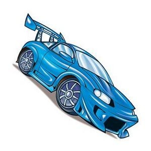 Blue Race Car Temporary Tattoo