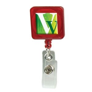 Domed Retractable Badge Holder (Square w/ Slip on Clip)