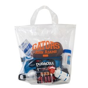 "Crystal Clear Stadium Security Fused Soft Loop Handle Bag (12""x12""x6"") - Flexo Ink"