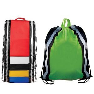 Non-Woven Reflective Drawstring Backpack w/ Stripes (Blank)