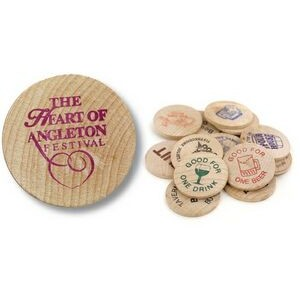 Wooden Nickel w/ Good For 1 Drink Stock Logo (Spot Color)