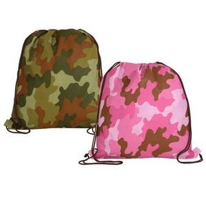 Non Woven Camo Drawstring Backpack (Blank)