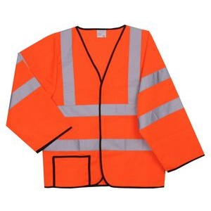 S/M Solid Orange Long Sleeve Safety Vest