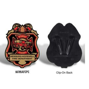 Plastic Fire Chief Badge w/Our Stock Design and your Wording