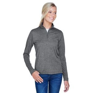 ULTRACLUB Ladies' Cool & Dry Heathered Performance Quarter-Zip