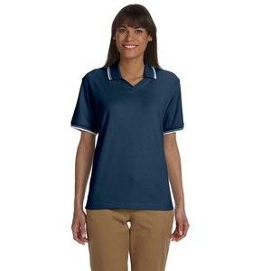 Devon and Jones Ladies' Tipped Perfect Pima Interlock Polo