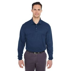 ULTRACLUB Adult Cool & Dry Long-Sleeve Mesh Piqué Polo