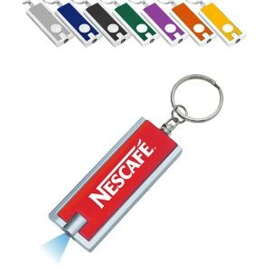 Rectangle LED Flashlight Key Chain, Printed with 1 Color Print