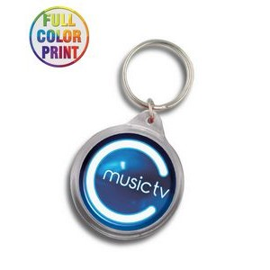 Round Shaped Plastic Keychain -Full Color Dome
