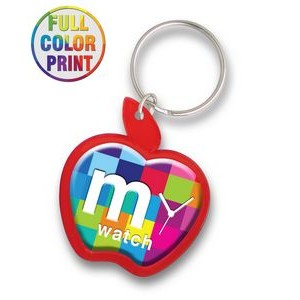 Apple Shaped Plastic Keychain -Full Color Dome