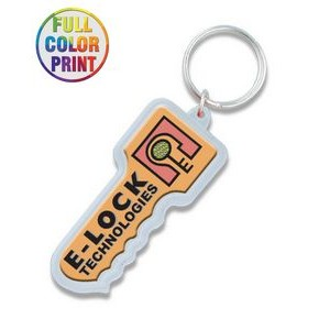 Key Shaped Plastic Keychain -Full Color Dome