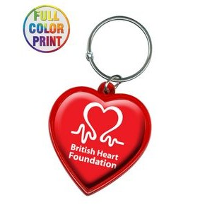 Heart Shaped Plastic Keychain -Full Color Dome