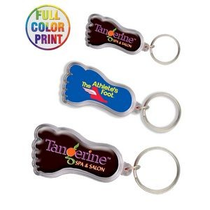 Foot Shaped Plastic Keychain -Full Color Dome