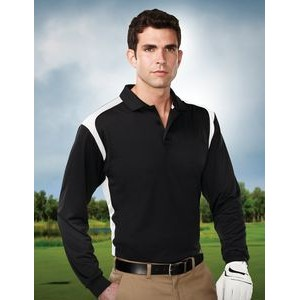 Men's Tri-Mountain Performance® Blitz Long Sleeve Colorblock Polo