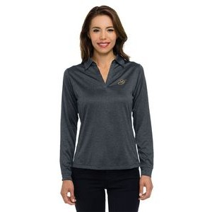 Women's Tri-Mountain Gold™ Gala Heather Long Sleeve Jersey Polo