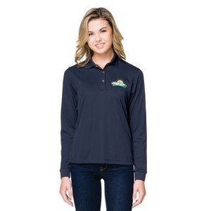 Tri-Mountain® Lady Vital Long Sleeve Snap Polyester Polo Shirt