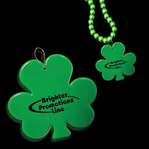 "2 1/2"" Green Shamrock Plastic Medallion Badge"