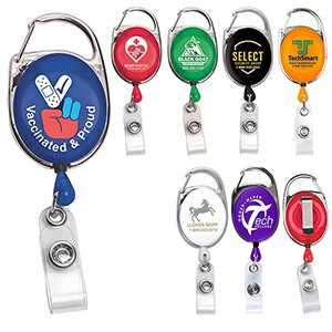 """Oberlin"" Retractable Carabiner Style Badge Reel & Badge Holder (Screen Printed)"