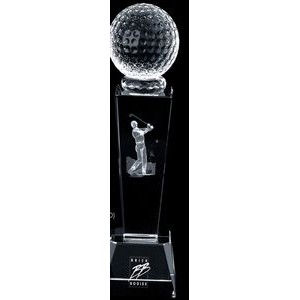 3D Golf Crystal Sport Trophy