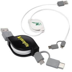Retractable 3-in-1 Charging Cable