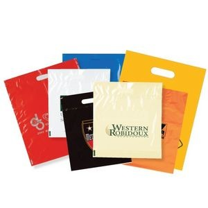 "Machine Run Foldover Die Cut Handle Bags (15""x18"") (White Only)"