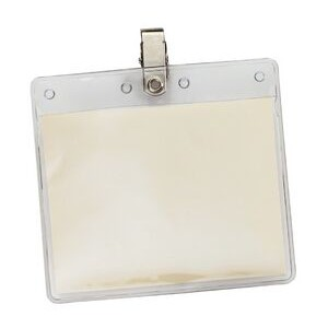 "Horizontal Vinyl Pouch with Bulldog Clip - 4 1/8""x4 5/16"""