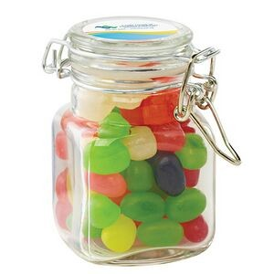 Glass Hinge Top Jar - Assorted Jelly Beans