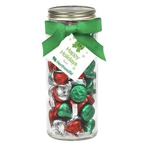 16 Oz. Contemporary Glass Mason Jar w/ Grosgrain Bow (Hershey's® Holiday Kisses)
