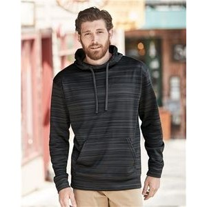 J. America Odyssey Striped Performance Fleece Hooded Pullover Sweatshirt