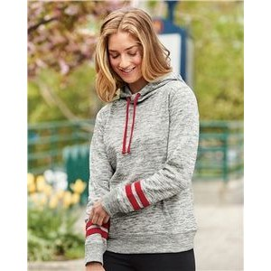 J. America Women's Melange Fleece Striped Sleeve Hooded Sweatshirt