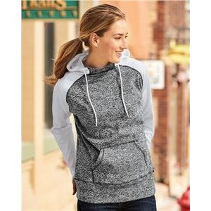 J. America Women's Color Block Cosmic Fleece Hooded Pullover Sweatshirt
