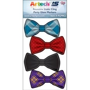 Party Glass Marker Kit - 4 Bow Ties Full Color on reusable white cling