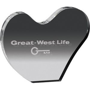 "Clear Heart Acrylic Paper Weight (5 1/8""x 4 1/4""x 3/4) Laser Engraved"
