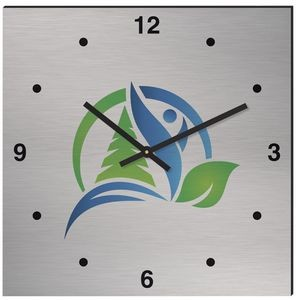 "11 3/4"" Square Aluma-Tech Wall Clock with Full Color Imprint"