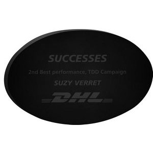 "Black Oval Paper Weight (4""x 2 1/2""x 3/8"") Laser Engraved"