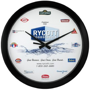 "12"" Economy Round Wall Clock with Full Color Imprint"