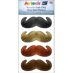 Party Glass Marker Kit - 4 Mustaches Full Color on reusable white cling
