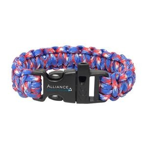Red, White & Blue Paracord Bracelet w/ Whistle