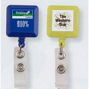 Square Retractable Badge Holder Reel (Dome Decoration)