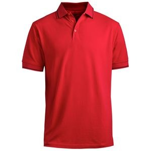 Edwards Blended Pique Polo Shirt w/ Tipped Collar & Sleeve