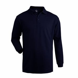 Edwards Unisex Blended Pique Long Sleeve Polo Shirt w/ Pocket