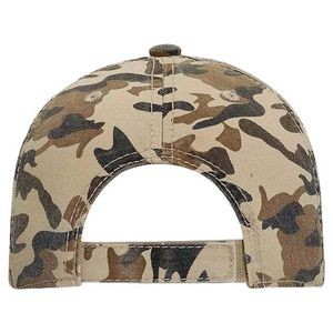 OTTO Camouflage Garment Washed Cotton Twill Distressed Visor Youth 6 Panel Low Profile Baseball Cap