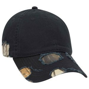 OTTO Camouflage Garment Washed Distressed Superior Cotton Twill 6 Panel Low Profile Baseball Cap