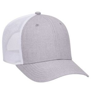 OTTO Heather Blend Twill 6 Panel Low Profile Mesh Back Trucker Hat