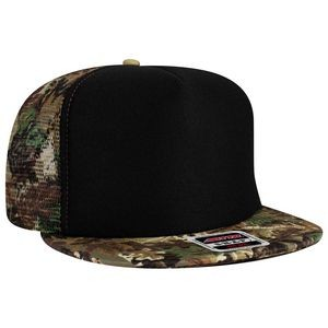 OTTO SNAP Camouflage Cotton Twill Flat Visor 5 Panel High Crown Mesh Back Trucker Snapback Hat