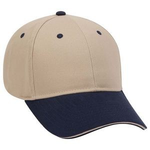OTTO Brushed Cotton Blend Twill Sandwich Visor 6 Panel Low Profile Baseball Cap