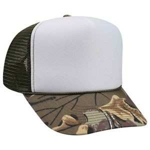 OTTO Camouflage Cotton Twill Visor Polyester Foam Front 5 Panel High Crown Mesh Back Trucker Hat