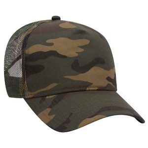 OTTO Camouflage Cotton Blend Twill 5 Panel Low Crown Mesh Back Trucker Hat